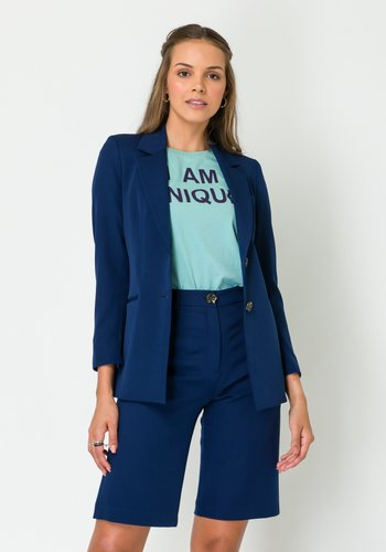 Blazer Feminino Alongado Azul Marinho