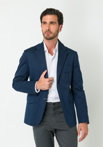 Blazer Masculino de Sarja 1 Abertura Azul Marinho