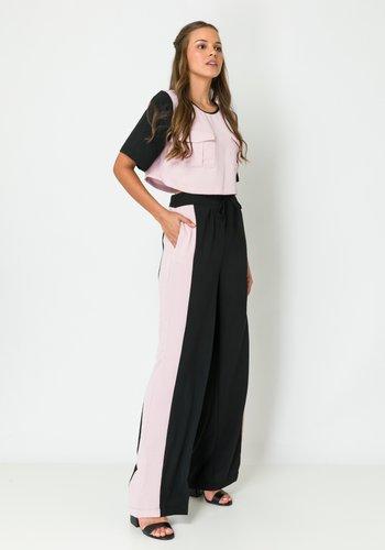 Calça Feminina Pantalona Bicolor Preta e Rose