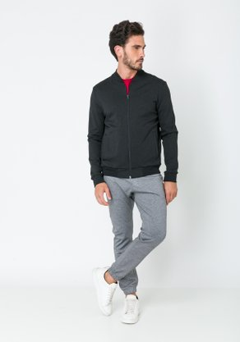 Calça Jogger Malha Cós Elástico com Amarração Cinza Escuro