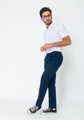 Calça Masculina Slim com Prega Azul Marinho