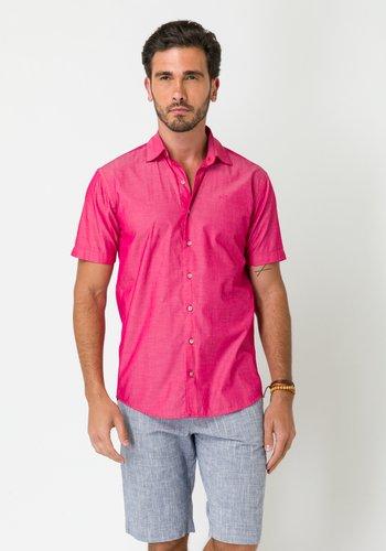 Camisa Casual Masculina Slim Fio 50 Manga Curta Rosa