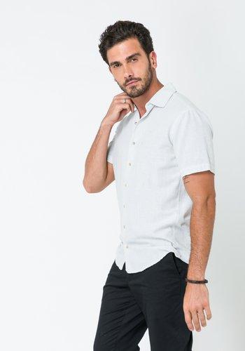 Camisa Casual Masculina Slim Linho Manga Curta Azul Claro