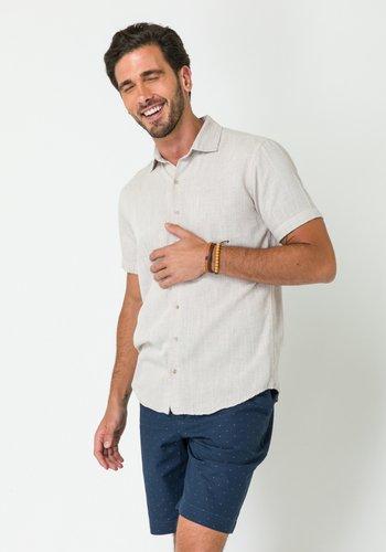 Camisa Casual Masculina Slim Linho Manga Curta Rose