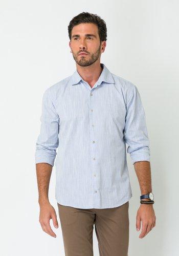 Camisa Casual Masculina Slim Manga Longa Azul Claro