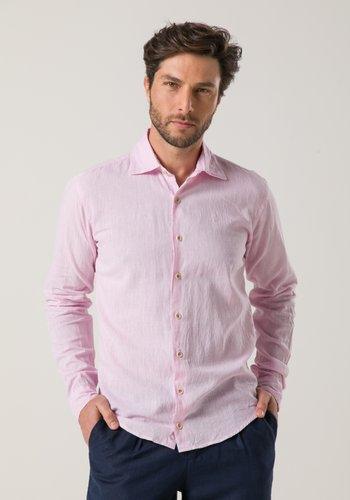 Camisa em Linho Masculina Slim Manga Longa Rosa