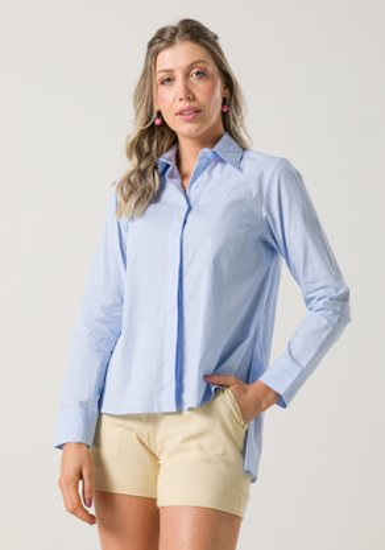 Camisa Feminina Ampla em Tricoline Azul