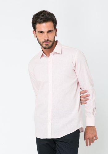 Camisa Linho Masculina Slim Manga Longa Rosa Claro