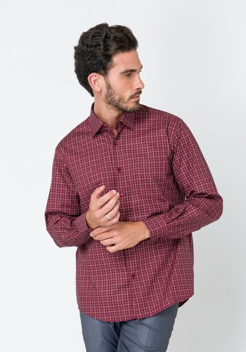 Camisa Masculina Casual Manga Longa Xadrez Vermelho