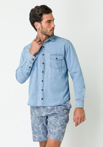 Camisa Masculina Manga Longa Jeans Médio