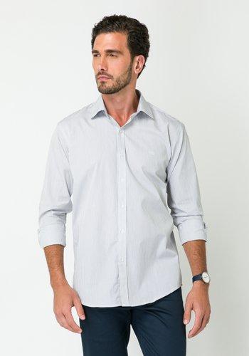 Camisa Masculina Manga Longa Slim Listrada Branco Preto