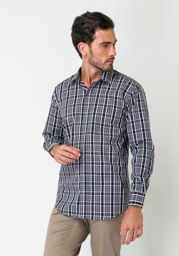 Camisa Masculina Manga Longa Slim Xadrez