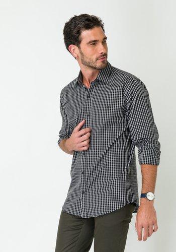 Camisa Masculina Manga Longa Slim Xadrez Preto-Branco