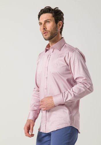 Camisa Masculina Slim Manga Longa Rosa Claro