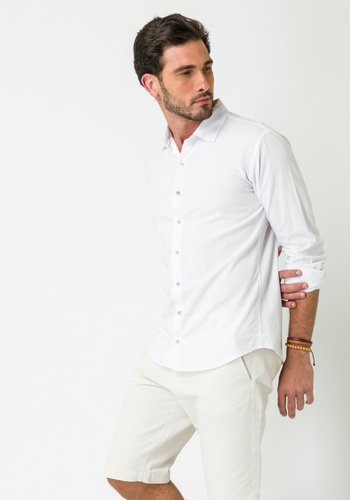 Camisa Slim Casual Masculina Manga Longa Branca
