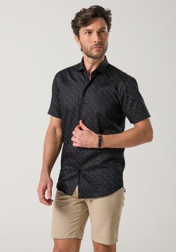 Camisa Slim Masculina Manga Curta Preta