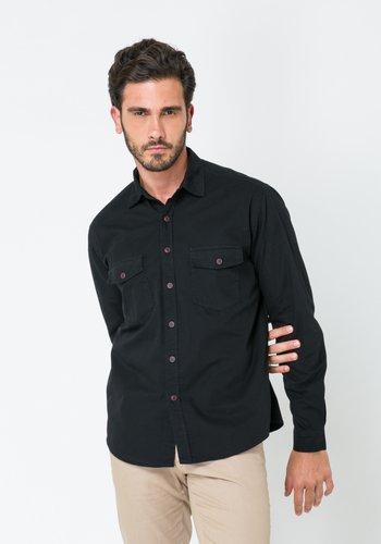 Camisa Slim Masculina Sarja Manga Longa Preta