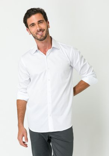 Camisa Social Manga Longa Slim Fit Branco-Azul