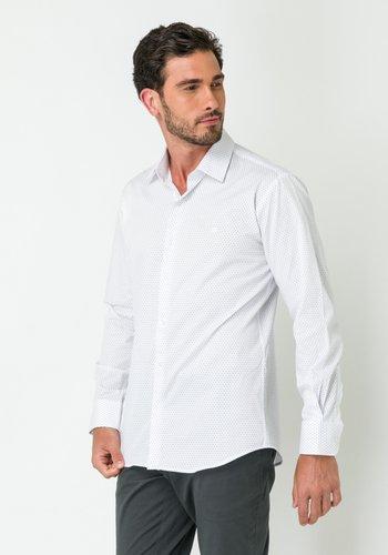 Camisa Social Manga Longa Slim Fit Branco-Marinho