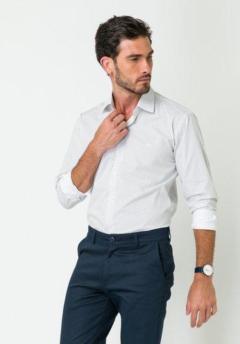 Camisa Social Manga Longa Slim Fit Branco-Preto