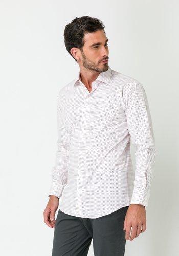 Camisa Social Manga Longa Slim Fit Branco-Vinho
