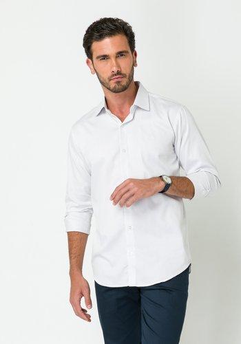 Camisa Social Manga Longa Slim Fit Cinza Claro