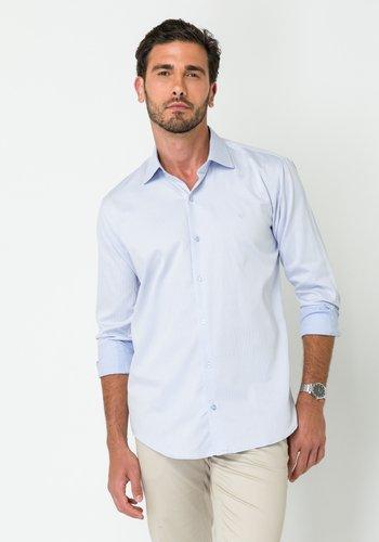 Camisa Social Manga Longa Slim Fit Maquineta Azul Claro