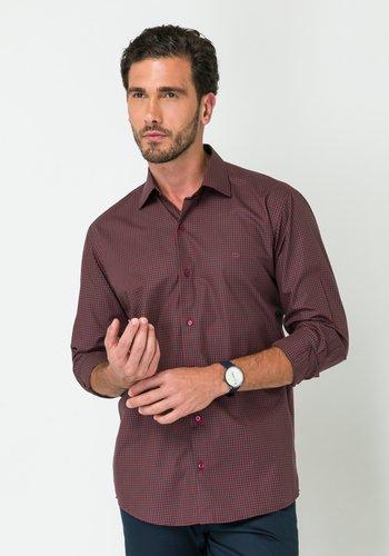 Camisa Social Manga Longa Slim Fit Vermelho Xadrez