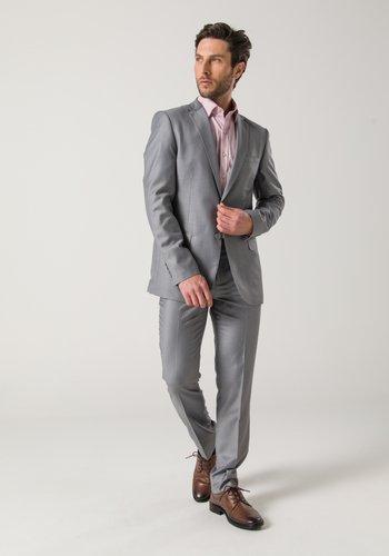 Costume Masculino Premium 2 Botões Slim Cinza Claro