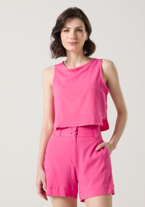 Cropped com Recorte Lateral Rosa Pink