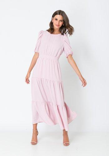 Vestido Midi Saia Ampla com Recortes Rose