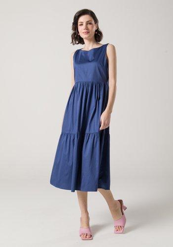 Vestido Midi Tricoline Azul