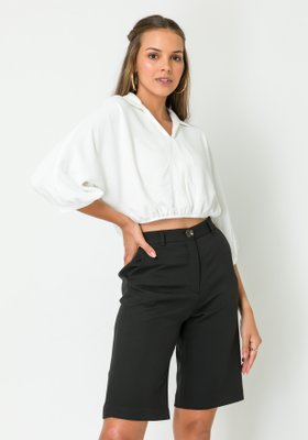 Blusa Feminina Ampla com Gola Off White