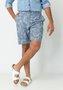 Bermuda de Sarja Masculina Azul Estampado Bolso Faca