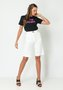 Bermuda Feminina Alfaiataria Cintura Alta Off White