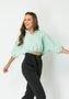 Blusa Feminina Ampla com Gola Verde Claro