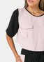Blusa Feminina Cropped Bolsos Utilitários Rose e Preta
