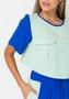 Blusa Feminina Cropped Bolsos Utilitários Verde Claro e Azul