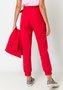 Calça Feminina Alfaiataria Cintura Alta com Cinto Vermelha