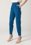 Calça Feminina com Prega Cintura Alta e Botão Forrado Azul