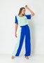 Calça Feminina Pantalona Bicolor Azul Royal e Verde Menta