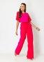 Calça Feminina Pantalona Bicolor Vermelha e Rosa