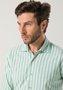 Camisa Casual Masculina Manga Longa Verde Claro Listrada