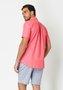 Camisa Casual Masculina Slim Manga Curta Fio 50 Laranja