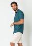 Camisa Casual Masculina Slim Manga Curta Verde