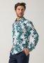 Camisa Casual Masculina Slim Manga Longa Verde Estampada