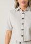 Camisa Cropped Botões Manga Curta Bege