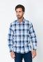 Camisa Masculina Social Slim Fit Manga Longa Azul Xadrez