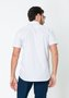 Camisa Slim Masculina Manga Curta Xadrez Branco Azul