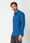 Camisa Social Manga Longa Slim Fit Azul Xadrez